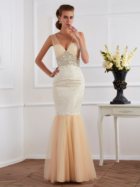 Mermaid Straps Beading Net Prom Dresses