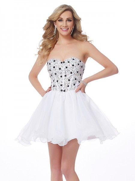 A-Line Sweetheart Beading Short Elastic Woven Satin Homecoming Dresses