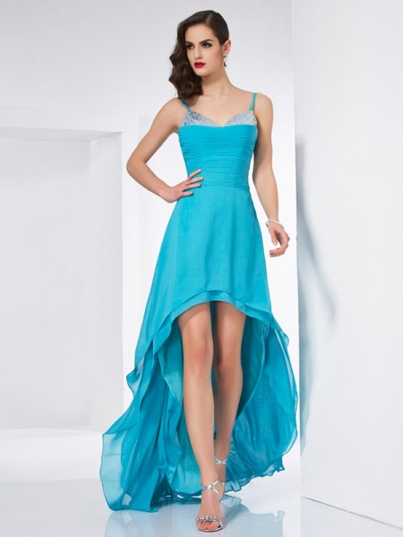 A-Line Spaghetti Straps High Low Chiffon Prom Dresses