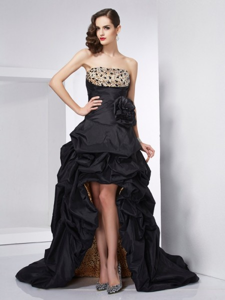 A-Line Strapless Beading High Low Taffeta Prom Dresses