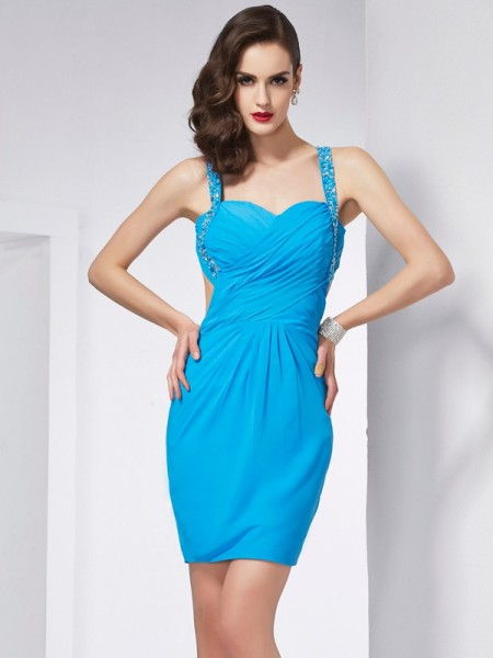 Sheath Spaghetti Straps Beading Short Chiffon Homecoming Dresses