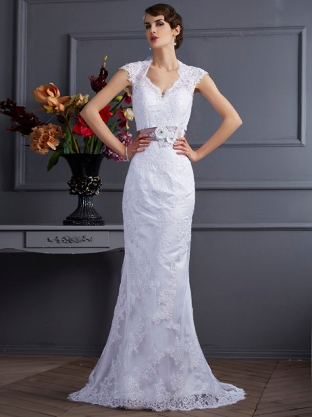 Mermaid Applique Satin Wedding Dresses
