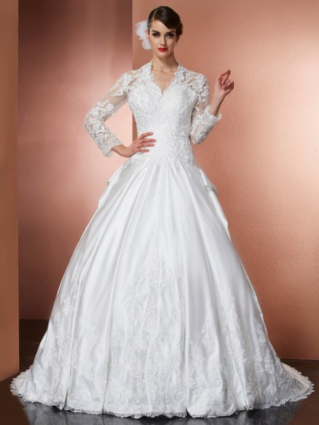 A-Line V-neck Applique Satin Wedding Dresses