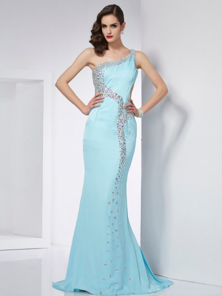 Mermaid One-Shoulder Beading Chiffon Prom Dresses