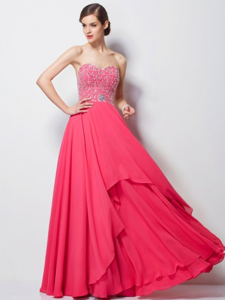 A-Line Sweetheart Beading Chiffon Prom Dresses