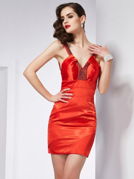 Sheath V-neck Beading Short Elastic Woven Satin Homecoming Dresses