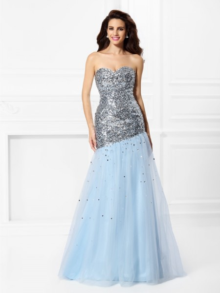 Mermaid Sweetheart Sequin Satin Prom Dresses