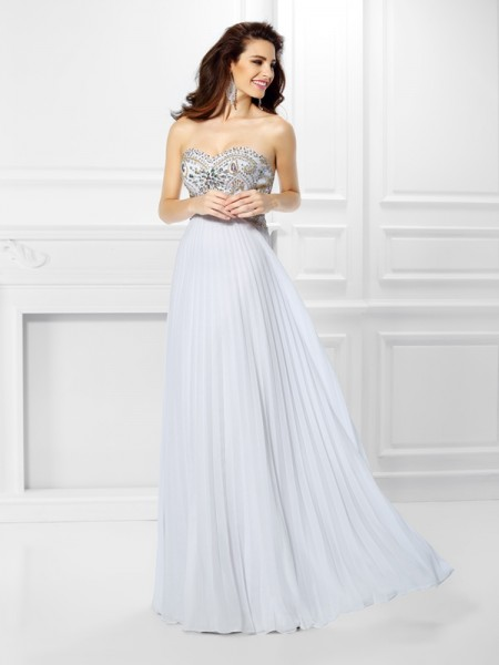 Sweetheart Beading Chiffon Empire Prom Dresses