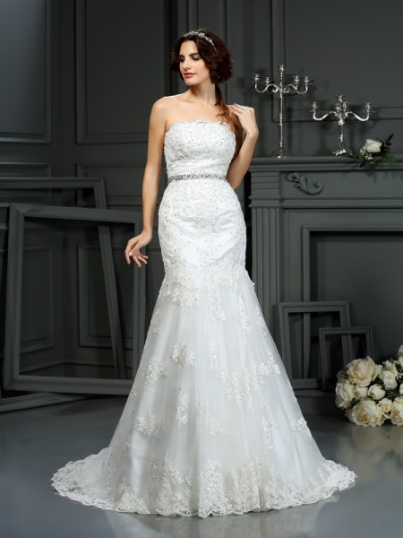 Mermaid Strapless Beading Lace Wedding Dresses