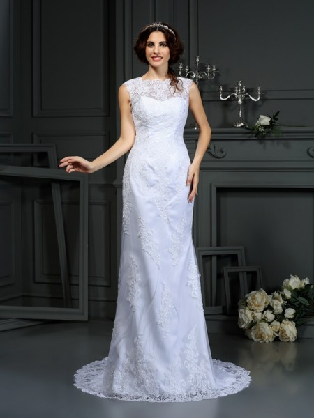 Sheath High Neck Lace Lace Wedding Dresses