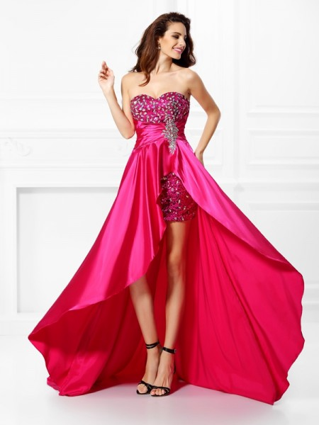 A-Line Sweetheart Beading High Low Elastic Woven Satin Prom Dresses