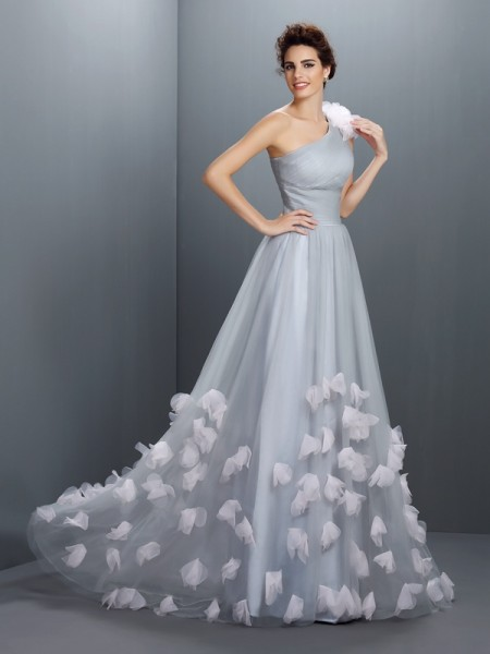 A-Line One-Shoulder Hand-Made Flower Net Prom Dresses