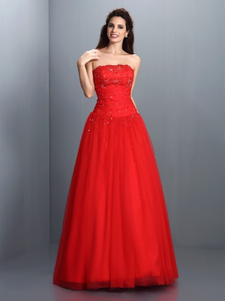 Strapless Beading Organza Ball Gown Quinceanera Dresses