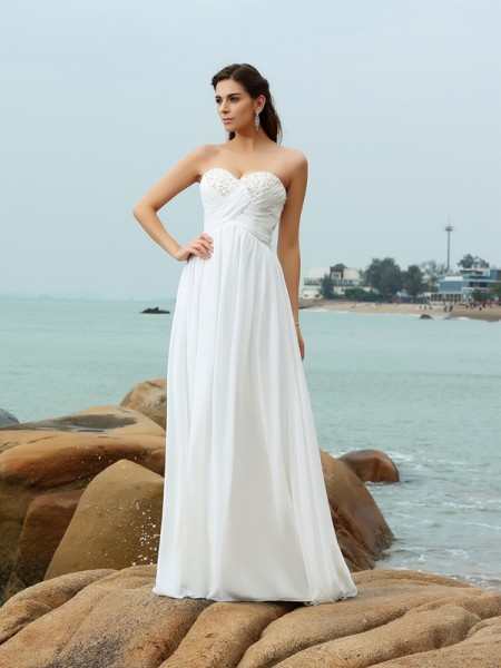 A-Line Sweetheart Beading Chiffon Beach Wedding Dresses