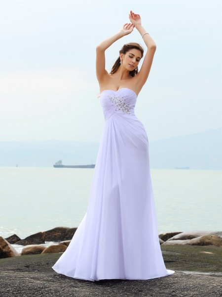 Sheath Sweetheart Beading Chiffon Beach Wedding Dresses