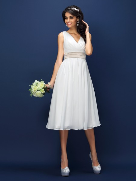 A-Line V-neck Pleats Short Chiffon Bridesmaid Dresses