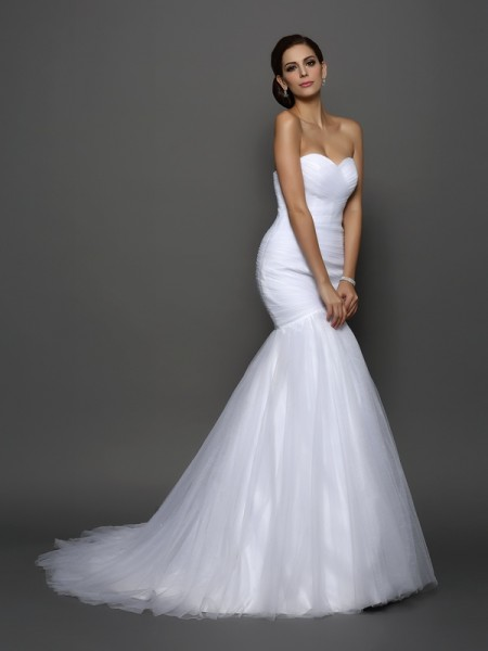 Mermaid Sweetheart Pleats Net Wedding Dresses