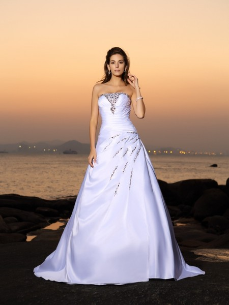 A-Line Strapless Beading Satin Beach Wedding Dresses
