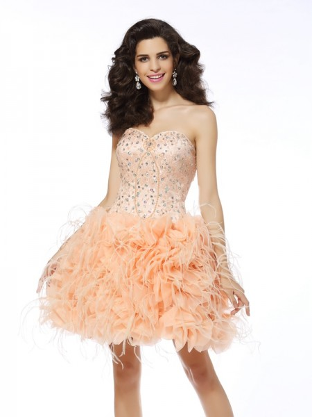 A-Line Sweetheart Beading Short Organza Homecoming Dresses