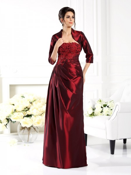 A-Line Strapless Applique Taffeta Mother of the Bride Dresses