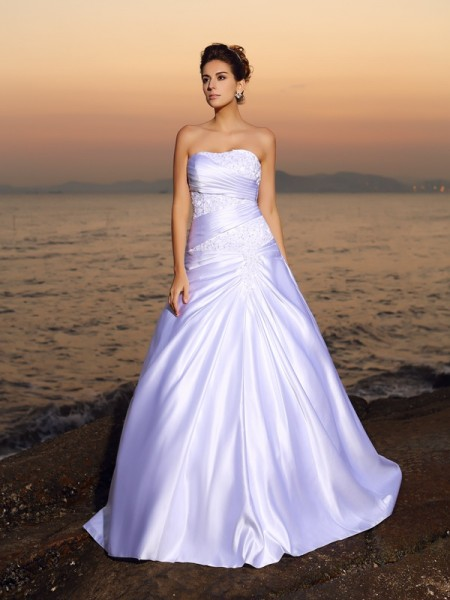 Strapless Beading Satin Beach Ball Gown Wedding Dresses