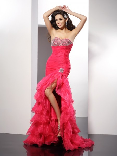 Sheath Sweetheart Beading Organza Prom Dresses
