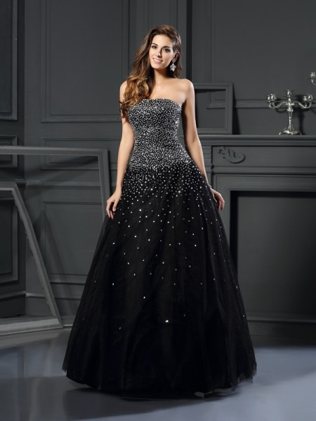 Strapless Beading Satin Ball Gown Quinceanera Dresses