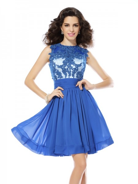 A-Line Scoop Applique Short Chiffon Homecoming Dresses