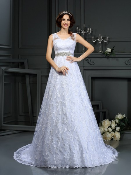 A-Line V-neck Lace Satin Wedding Dresses