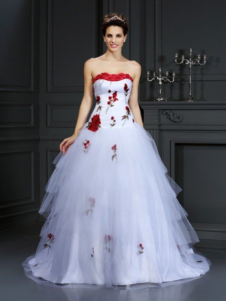 Strapless Hand-Made Flower Satin Ball Gown Wedding Dresses