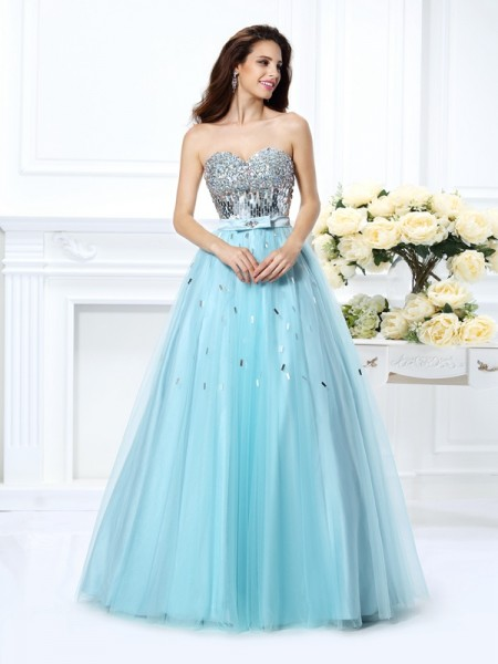 Sweetheart Beading Paillette Satin Ball Gown Quinceanera Dresses