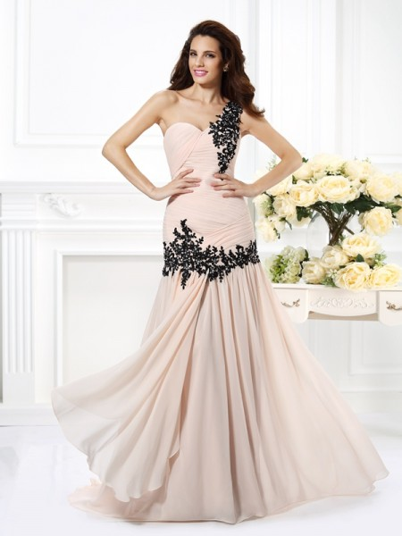 A-Line One-Shoulder Beading Applique Chiffon Prom Dresses
