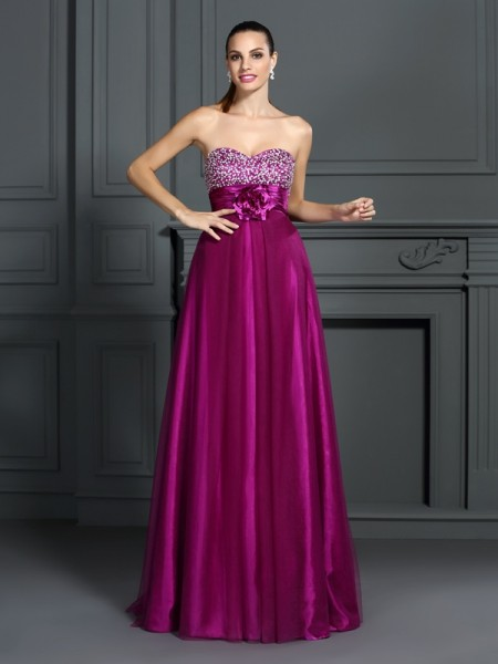 A-Line Sweetheart Hand-Made Flower Elastic Woven Satin Prom Dresses
