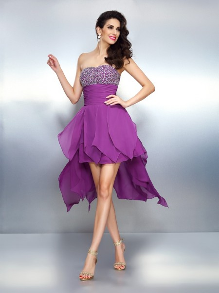 A-Line Strapless Beading High Low Chiffon Homecoming Dresses