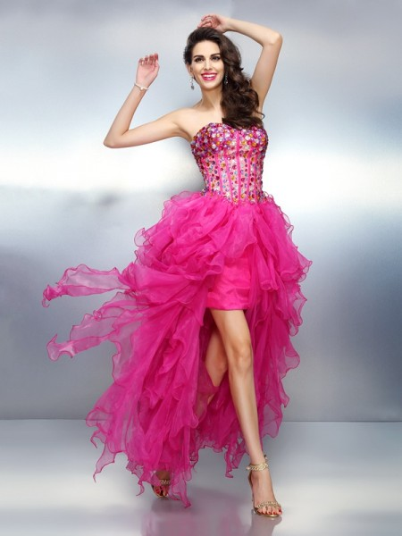 A-Line Sweetheart Rhinestone High Low Organza Cocktail Dresses