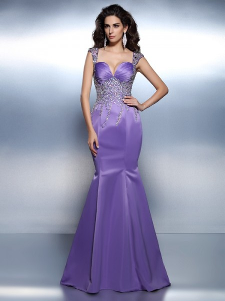 Mermaid Sweetheart Beading Satin Prom Dresses