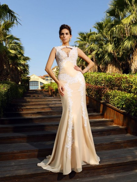 Sheath High Neck Applique Chiffon Prom Dresses