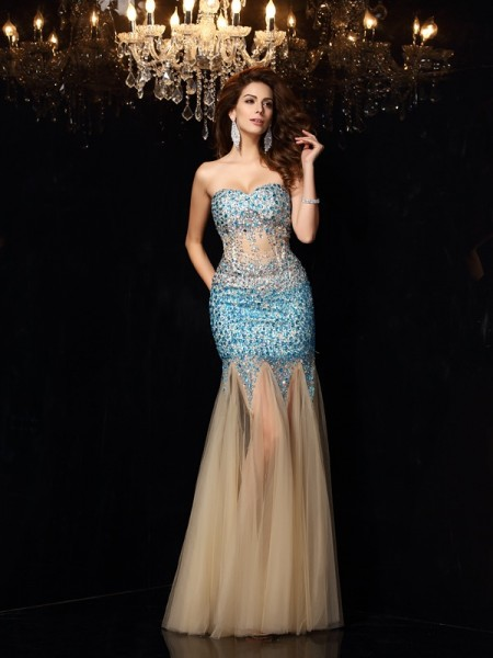 Sheath Sweetheart Beading Net Prom Dresses