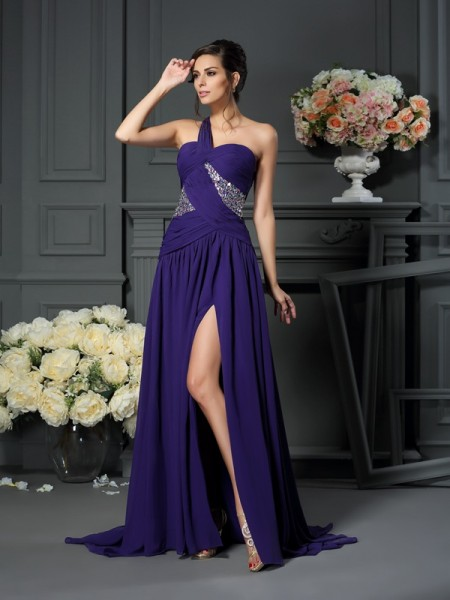 A-Line One-Shoulder Beading Chiffon Prom Dresses