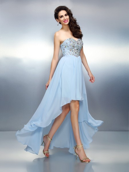 A-Line Sweetheart Ruffles High Low Chiffon Homecoming Dresses