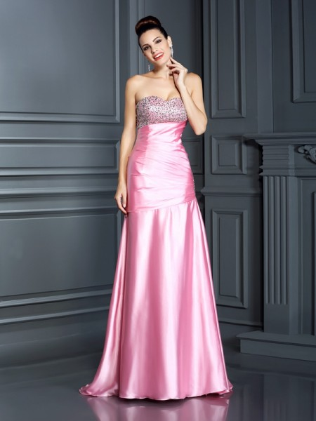 Mermaid Sweetheart Beading Elastic Woven Satin Prom Dresses