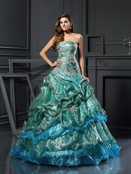Sweetheart Applique Tulle Ball Gown Quinceanera Dresses