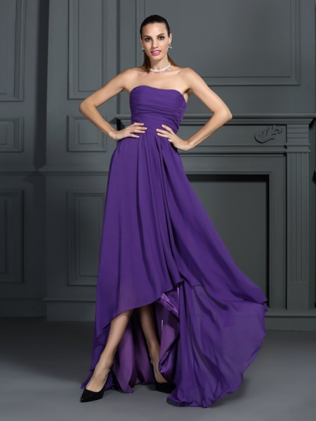 A-Line Strapless Pleats High Low Chiffon Cocktail Dresses