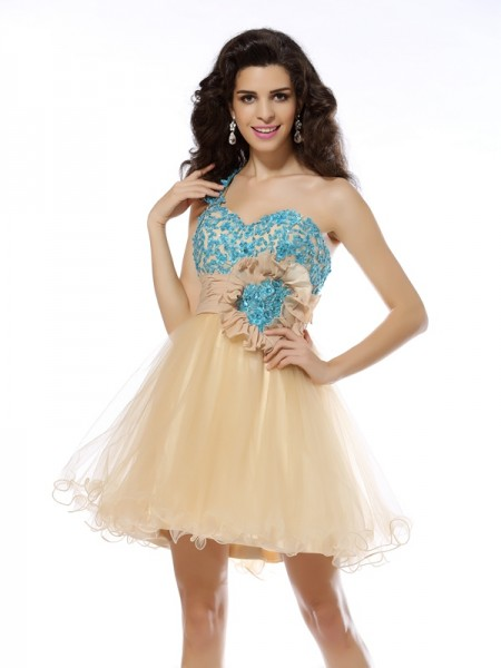A-Line One-Shoulder Applique Short Net Homecoming Dresses