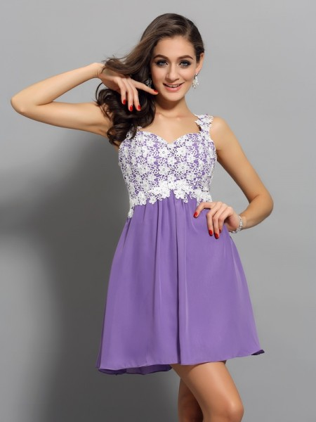 A-Line Straps Applique Short Chiffon Homecoming Dresses