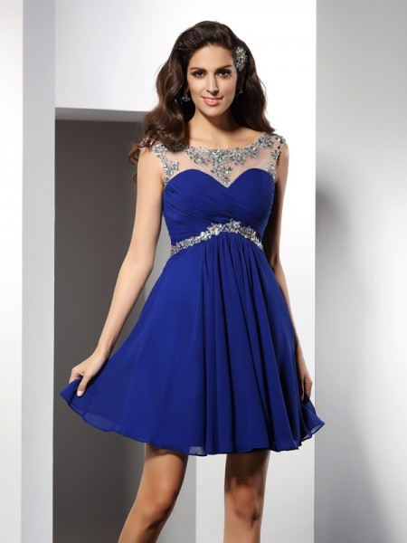 A-Line Scoop Beading Short Chiffon Homecoming Dresses