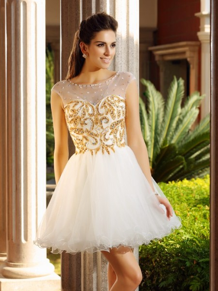 A-Line Scoop Ruffles Short Net Homecoming Dresses