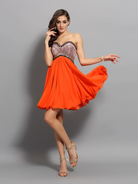 A-Line Sweetheart Ruffles Short Organza Homecoming Dresses