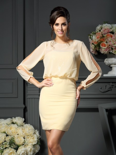 Sheath Scoop Short Chiffon Mother of the Bride Dresses