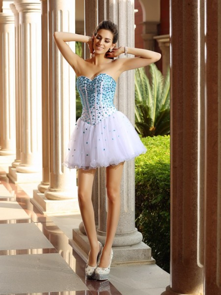 A-Line Sweetheart Ruffles Short Tulle Homecoming Dresses